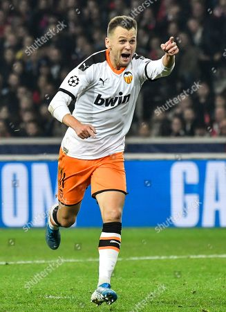 Valencia's Denis Cheryshev celebrates after scoring opening goal during the UEFA Champions League soccer Group H match between OSC Lille and Valencia CF at the Pierre Mauroy Stadium in Villeneuve-d'Ascq, near Lille, France, 23 October 2019.