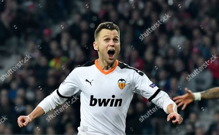 Stock Image of Valencia's Denis Cheryshev celebrates after scoring opening goal during the UEFA Champions League soccer Group H match between OSC Lille and Valencia CF at the Pierre Mauroy Stadium in Villeneuve-d'Ascq, near Lille, France, 23 October 2019.