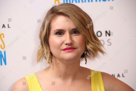 Jillian Bell poses for photographers upon arrival at the premiere of 'Brittany Runs a Marathon' at a central London hotel