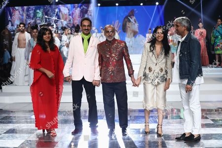 Fashion designers Anamika Khanna, Wendell Rodricks, Manish Arora and others on the fourth day of the FDCI's Lotus Make-up India Fashion Week at Major Dhyan Chand National Stadium.