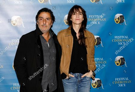 Charlotte Gainsbourg (R) and Yvan Attal (L) arrive at the Festival Cine Roman 2019 in Nice, France, 23 October 2019. The festival runs from 23 to 26 October.