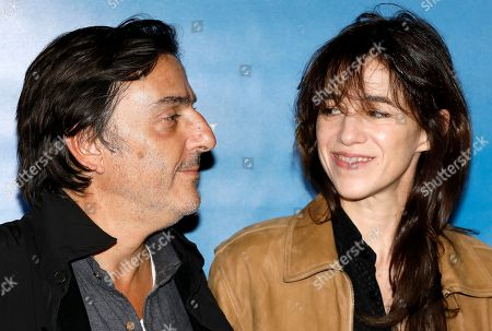 Stock Image of Charlotte Gainsbourg (R) and Yvan Attal (L) arrive at the Festival Cine Roman 2019 in Nice, France, 23 October 2019. The festival runs from 23 to 26 October.