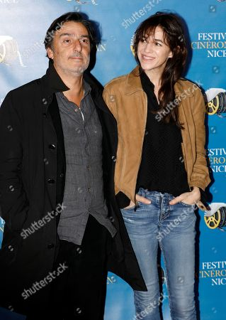 Stock Picture of Charlotte Gainsbourg (R) and Yvan Attal (L) arrive at the Festival Cine Roman 2019 in Nice, France, 23 October 2019. The festival runs from 23 to 26 October.