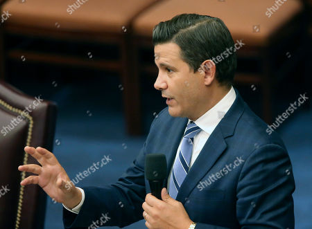 Sen. Jason Pizzo, D-Miami, speaks during a senate special session concerning Gov. Ron DeSantis dismissal of Broward county sheriff Scott Israel, in Tallahassee, Fla. The Florida Senate handed a political victory to Gov. Ron DeSantis on Wednesday, as the chamber backed the suspension of a county sheriff who the Republican governor said bungled the response to last year's mass shooting in Parkland that killed 17 people