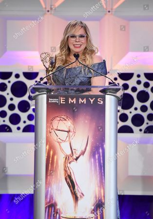 Kirsten Vangsness speaks at the 71st Engineering Emmy Awards, presented by the Television Academy at the JW Marriott Los Angeles L.A. LIVE hotel on in Los Angeles