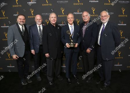 Stock Picture of Julio Macat, Lowell Peterson, Don McCuaig, Richard Crudo, Gary Baum, Steve Lighthill. Julio Macat, and from left, Lowell Peterson, Don McCuaig, Richard Crudo, winner of the Farnsworth Award, Gary Baum, and Steve Lighthill at the 71st Engineering Emmy Awards, presented by the Television Academy at the JW Marriott Los Angeles L.A. LIVE hotel on in Los Angeles
