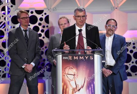 Alan Jaenicke, John-Paul Smith, Dr. Phillip McLauchlan, Ross Shain. Alan Jaenicke, and from left, John-Paul Smith, Dr. Phillip McLauchlan, and Ross Shain of Boris FX accept the Engineering Emmy Award at the 71st Engineering Emmy Awards, presented by the Television Academy at the JW Marriott Los Angeles L.A. LIVE hotel on in Los Angeles