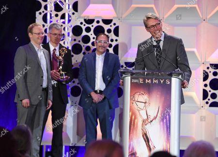John-Paul Smith, Dr. Phillip McLauchlan, Ross Shain, Alan Jaenicke. John-Paul Smith, and from left, Dr. Phillip McLauchlan, Ross Shain, and Alan Jaenicke of Boris FX accept the Engineering Emmy Award at the 71st Engineering Emmy Awards, presented by the Television Academy at the JW Marriott Los Angeles L.A. LIVE hotel on in Los Angeles