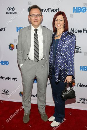 """Michael Emerson, Carrie Preston. Michael Emerson, left, and Carrie Preston, attend the NewFest LGBTQ film festival opening night gala screening of """"Sell By"""" at the SVA Theatre, in New York"""