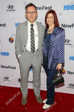 """Michael Emerson, Carrie Preston. Michael Emerson, left, and Carrie Preston, right, attend the NewFest LGBTQ film festival opening night gala screening of """"Sell By"""" at the SVA Theatre, in New York"""