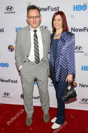 """Stock Picture of Michael Emerson, Carrie Preston. Michael Emerson, left, and Carrie Preston, right, attend the NewFest LGBTQ film festival opening night gala screening of """"Sell By"""" at the SVA Theatre, in New York"""