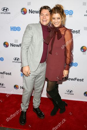 """Augustus Prew, Kate Walsh. Augustus Prew, left, and Kate Walsh, right, attend the NewFest LGBTQ film festival opening night gala screening of """"Sell By"""" at the SVA Theatre, in New York"""