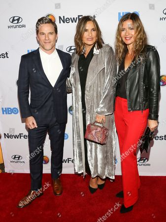 """Mike Doyle, Mariska Hargitay, Jill Hennessy. Mike Doyle, from left, Mariska Hargitay and Jill Hennessy attend the NewFest LGBTQ film festival opening night gala screening of """"Sell By"""" at the SVA Theatre, in New York"""