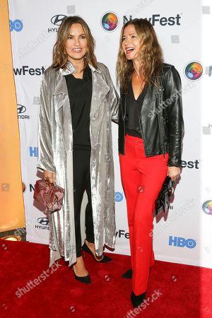 """Mariska Hargitay, Jill Hennessy. Mariska Hargitay, left, and Jill Hennessy, right, attend the NewFest LGBTQ film festival opening night gala screening of """"Sell By"""" at the SVA Theatre, in New York"""
