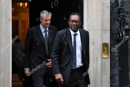 Zac Goldsmith, Minister of State for Environment & International Development, and Kwasi Kwarteng, Minister of State for Business and Energy, leaving a cabinet meeting at No.10 Downing Street, London.