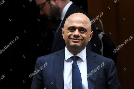 Sajid Javid, Chancellor of the Exchequer, leaves No.10 Downing Street, London.