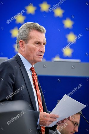 Stock Picture of Gunther Oettinger during a plenary session at the European Parliament in Strasbourg - Climate and ecological emergency