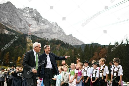 State Premier of Bavaria Markus Soeder (R) receives Baden-Wuerttemberg's State Premier Winfried Kretschmann (L) at the Zugspitze near Garmisch Partenkirchen, Germany, 24 October 2019. The heads of Germany's 16 state governments meet to discuss various policy issues for two days.