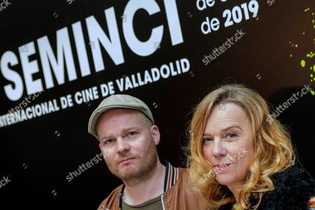 Icelandic film director Grimur Hakonarson (C) and actress and cast member Arndis Egilsdottir pose for the photographers as they present the film 'The County' in the framework of 64th SEMINCI International Film Festival, in Valladolid, northern Spain, 24 October 2019. The festival runs from 19 to 26 October.