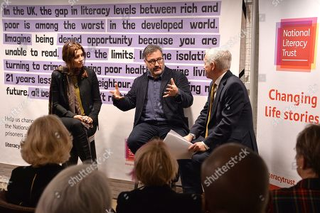 Stock Photo of Camilla Duchess of Cornwall attends a talk lead by (L-R) Shortlisted Author, The Booker Prize 2019 Elif Shafak, Chair of Judges, The Booker Prize 2019 Peter Florence and Chief executive, National Literacy trust Jonathon Douglas during a reception to mark the 7th anniversary of NLT's Books Unlocked programme at KPMG Cafe on October 24, 2019 in London, England. HRH is patron of the National Literacy Trust.
