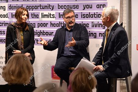 Stock Picture of Camilla Duchess of Cornwall attends a talk lead by (L-R) Shortlisted Author, The Booker Prize 2019 Elif Shafak, Chair of Judges, The Booker Prize 2019 Peter Florence and Chief executive, National Literacy trust Jonathon Douglas during a reception to mark the 7th anniversary of NLT's Books Unlocked programme at KPMG Cafe on October 24, 2019 in London, England. HRH is patron of the National Literacy Trust.