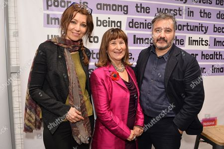 Stock Image of Helena Kennedy, Baroness Kennedy of The Shaws, Shortlisted Author, The Booker Prize 2019 Elif Shafak and Chair of Judges, The Booker Prize 2019 Peter Florence, attend a reception to mark the 7th anniversary of NLT's Books Unlocked programme at KPMG Cafe on October 24, 2019 in London, England. HRH is patron of the National Literacy Trust.