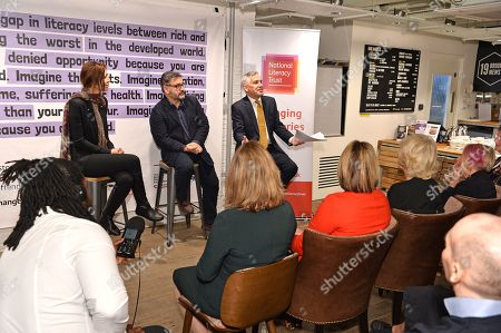 Camilla Duchess of Cornwall attends a talk lead by Shortlisted Author, The Booker Prize 2019 Elif Shafak, Chair of Judges, The Booker Prize 2019 Peter Florence and Chief executive, National Literacy trust Jonathon Douglas during a reception to mark the 7th anniversary of NLT's Books Unlocked programme at KPMG Cafe on October 24, 2019 in London, England. HRH is patron of the National Literacy Trust.