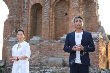 Editorial picture of 'Little Journey' TV show filming, Taormina, Sicily, Italy - 23 Oct 2019