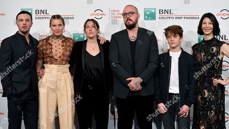 Michael Pitt, Dree Hemingway, Sam Quartin, director John Swab, US actors Mitchell Paulsen and Mykle McCoslin pose during the photocall for the movie 'Run With the Hunted ' at the 14th annual Rome Film Festival, in Rome, Italy, 24 October 2019. The film festival runs from 17 to 27 October.