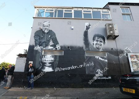 A mural dedicated to Bill Shankley and Kenny Dalglish outside Anfield