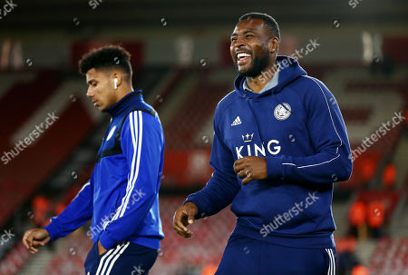 Stock Image of Wes Morgan of Leicester City smiles before kick off.