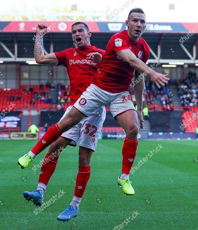 Andreas Weimann of Bristol City celebrates scoring a goal to make the score 1-0 with fellow goalscorer Pedro Pereira