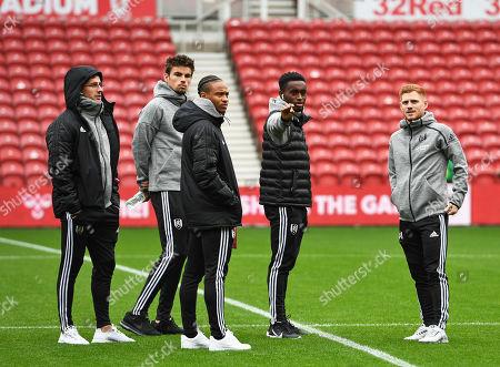 (l-r) Joe Bryan of Fulham, Matt O?Riley of Fulham, Bobby De Cordova Reid of Fulham, Steven Sessegnon of Fulham and Harrison Reed of Fulham take a walk out on to the pitch ahead of kick off.