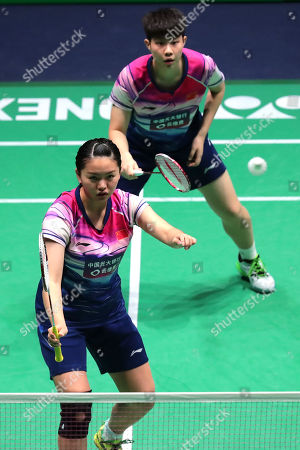Xia Yu Ting (L) and Liu Xuan Xuan (R) of China in action during their Women's double second round match against  Greysia Polii and Apryani Rahayu of Indonesia at the Yonex Badminton French Open tournament in Paris, France, 24 October 2019.