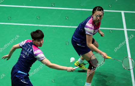 Xia Yu Ting (R) and Liu Xuan Xuan (L) of China in action during their Women's double second round match against  Greysia Polii and Apryani Rahayu of Indonesia at the Yonex Badminton French Open tournament in Paris, France, 24 October 2019.