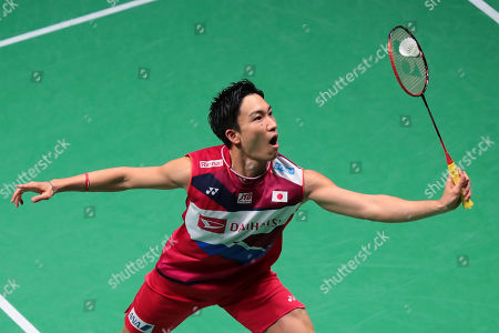 Kento Momota of Japan  in action during his Men's second round match againstHans-Khristian Solberg Vittinghus (unseen) of Denmark at the Yonex Badminton French Open tournament in Paris, France, 24 Otober 2019.