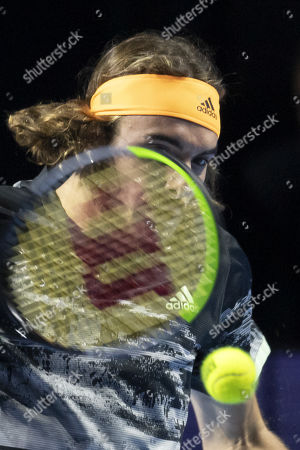 Greece's Stefanos Tsitsipas in action during his match against Lithuania's Ricardas Berankis at the Swiss Indoors tennis tournament in Basel, Switzerland, 24 October 2019.