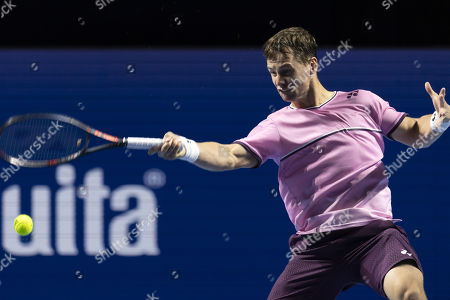Lithuania's Ricardas Berankis in action during his match against Greece's Stefanos Tsitsipas at the Swiss Indoors tennis tournament in Basel, Switzerland, 24 October 2019.