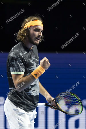 Greece's Stefanos Tsitsipas reacts during his match against Lithuania's Ricardas Berankis at the Swiss Indoors tennis tournament in Basel, Switzerland, 24 October 2019.