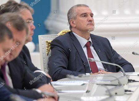 Head of the Republic of Crimea Sergey Aksyonov during the meeting.