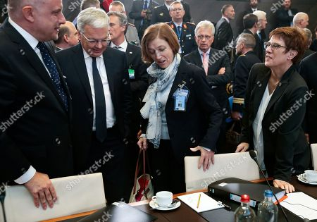 (L-R) Estonian Defense Minister Juri Luik, Belgium Defense minister Didier Reynders, French Defense minister Florence Parly, German Defense minister Annegret Kramp-Karrenbauer attend the NATO defense ministers meeting at NATO headquarters in Brussels, Belgium,  24 October 2019. NATO defense ministers gather for a two-day meeting to discuss the invasion of northern Syria by alliance member Turkey, amid deep concern over Ankara's actions.