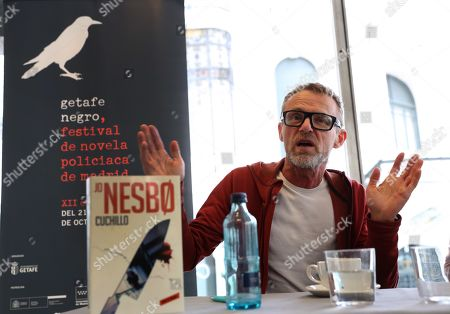 Stock Image of Norwegian writer Jo Nesbo speaks during an interview to Spanish News Agency EFE held in Madrid, Spain, 24 October 2019. Nesbo presented the 12th novel of the detective Harry Hole series.