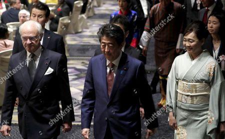 King Carl Gustaf, Shinzo Abe and his wife Akie