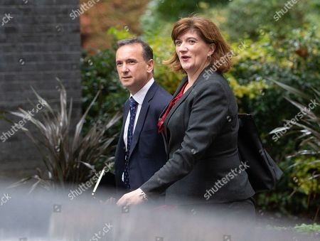 Nicky Morgan and Alun Cairns, arrives for the Cabinet meeting.