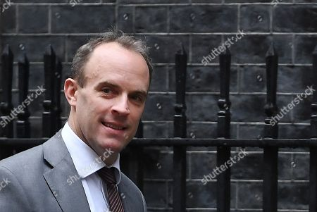 British Secretary of State for Foreign Affairs Dominic Raab arrives for a cabinet meeting at 10 Downing Street in London, Britain, 24 October 2019.