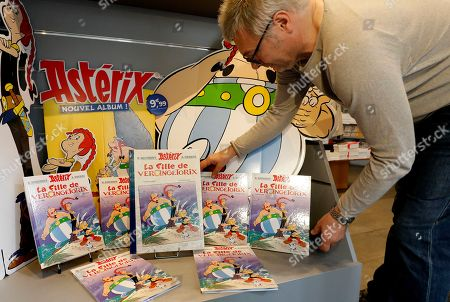 Stock Image of The new French comic of Asterix 'La Fille de Vercingetorix' (The daughter of Vercingetorix') is displayed at a bookstore in Nice, France, 24 October 2019. 'La fille de Vercingetorix' is the 38th episode of the comics Asterix, scripted by Jean-Yves Ferri and drawn by Didier Conrad.