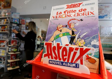 Stock Picture of The new French comic of Asterix 'La Fille de Vercingetorix' (The daughter of Vercingetorix') is displayed at a bookstore in Nice, France, 24 October 2019. 'La fille de Vercingetorix' is the 38th episode of the comics Asterix, scripted by Jean-Yves Ferri and drawn by Didier Conrad.