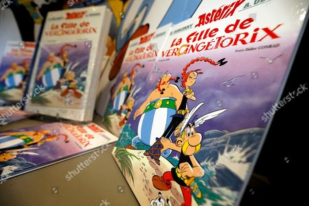 The new French comic of Asterix 'La Fille de Vercingetorix' (The daughter of Vercingetorix') is displayed at a bookstore in Nice, France, 24 October 2019. 'La fille de Vercingetorix' is the 38th episode of the comics Asterix, scripted by Jean-Yves Ferri and drawn by Didier Conrad.