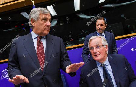 Stock Picture of Antonio Tajani, Michel Barnier