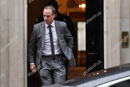 British Secretary of State for Foreign Affairs  Dominic Raab departs a cabinet meeting at 10 Downing Street in London, Britain, 24 October 2019. British Prime Minister Boris Johnson has stated he is to table a motion for a general election for 12 December.
